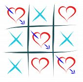 stock photo of tic  - tic tac toe with hearts love win abstract - JPG