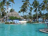 image of greater antilles  - holiday resort with big pool at the Dominican Republic a island of Hispanola wich is a part of the Greater Antilles archipelago in the Carribean region - JPG