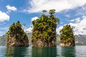 pic of three sisters  - Three Rocks In Cheow Lan Lake - JPG