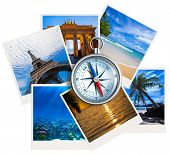 stock photo of orientation  - Traveling photos collage with compass on white background - JPG