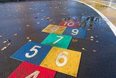 picture of hopscotch  - children playground with hopscotch game in bright colors - JPG