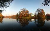 Beautiful Autumn Lake With Temple