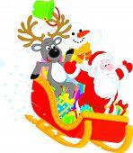 Papai Noel, Rena e boneco de neve
