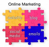 Puzzle de Marketing on-line mostra sites e Blogs