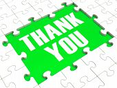 stock photo of appreciation  - Thank You Puzzle Showing Thankfulness And Appreciation - JPG