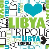 I love Libya Tripoli seamless typography background pattern in vector