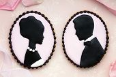 stock photo of cameos  - Bride and groom cookies - JPG
