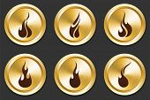 Fire Icons on Gold Button Collection Original Illustration