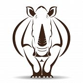 picture of rhino  - Vector image of a rhino on white background - JPG