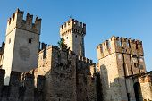 Scaliger Castle Sirmione On Garda Lake In Lombardy, Italy