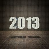 2013 New Year  With Grunge Wall And Old Wood Floor