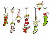 picture of winterberry  - Cute playing elves with Christmas stockings - JPG