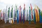 Colorful Mantra Flag Field In Darjeeling, India