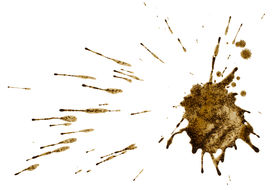 picture of feces  - Coffee or mud splash isolated on white background - JPG