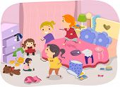 Illustration of Girls Playing in a Typical Girl's Room