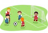 image of stickman  - Stickman Illustration Featuring a Group of Boys Playing Soccer - JPG