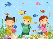 Stickman Illustration Featuring Kids on a Trip to the Aquarium