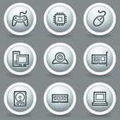 Computer web icons, circle grey matt buttons