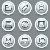 Drives and storage web icons, circle grey matte buttons