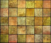 Abstract Backdrop Square Tile Grunge Pattern In Orange,yellow And Pink