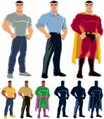 stock photo of superhero  - Ordinary man transforms into superhero - JPG