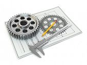 Engineering drawing. Gear, trammel, pencil and draft. 3d