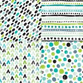stock photo of aztec  - Seamless geometric hand drawn retro dots and aztec elements background pattern series in vector - JPG