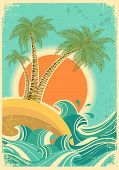 Vintage Nature Sea With Waves And Sun.vector Retro Poster On Old Paper Texture