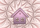 3D Render Of A Nice House Symbol  On Vintage Backgrond