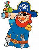 Pirata com luneta e papagaio