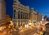 MADRID, SPAIN - MAY 9: night lighting  on Gran Vi�?�­a street , 09 May, 2012 in Madrid, Spain. Gr