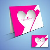 Happy Valentines Day greeting card or gift card with heart shape design on blue background.