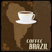 Coffee Brazil Vintage Poster