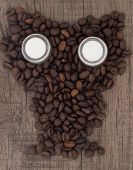 owl made of coffee beans, coffee with milk for sleepless nights