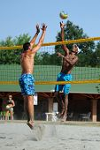 KAPOSVAR, HUNGARY - AUGUST 4: Leonel Munder (R) in action at a ROAK Viragfurdo Kupa beach volleyball