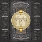Vector lettering design template - Calendar of 2014 with vintage labels and grunge elements