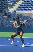 Grand Slam champion Na Li practices for US Open 2013 at Arthur  Ashe Stadium