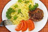 Burger rissole  and spaghetti with vegetables at plate