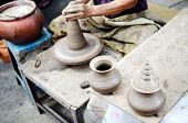 Potter Man Hands Shaping Ceramic Craft