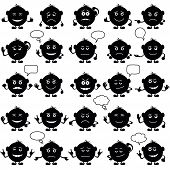 Smilies round, set, black