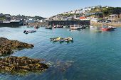 Mevagissey Cornwall England blue sea and sky on a beautiful summer day