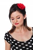 foto of rockabilly  - Rockabilly girl with closed eyes - JPG