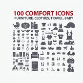 100 comfort icons: furniture, clothes, travel, baby set, vector