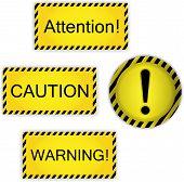 Warning, attention, caution symbols