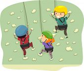 picture of stickman  - Stickman Illustration Featuring Kids Dressed in Climbing Gear Scaling a Wall - JPG