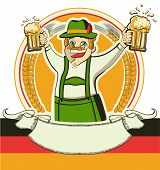 German Man And Glasses Of Beer.vector Oktoberfest Estival Symbol Isolated On White