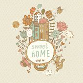Sweet home. Concept vector background with houses, bird, sun, car, dog, rainbow, clouds and flowers
