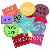 Background With Colorful Discount Tags Over White.