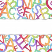 Seamless Vector Pattern, Colorful Alphabet Over White Background