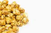 Caramel Popcorn On White Background